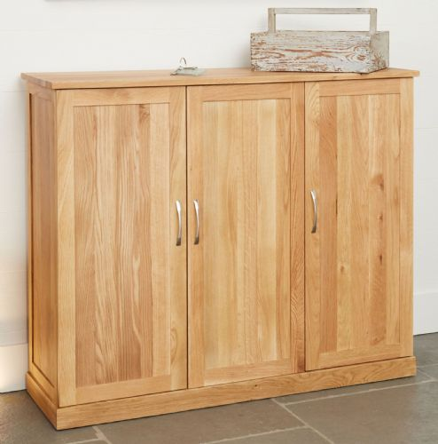 Mobel Oak Three Door Wide Shoe Cupboard